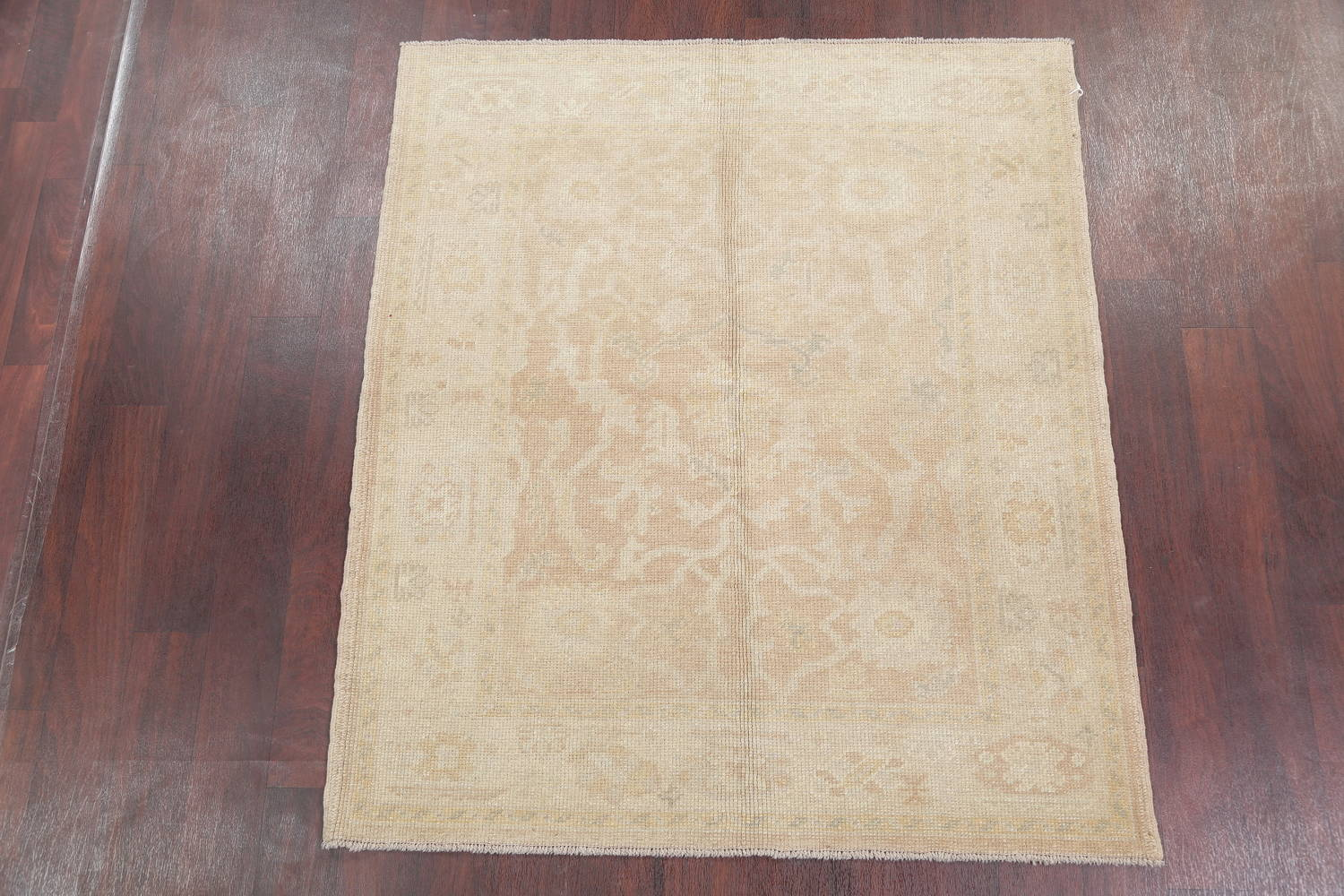 Vegetable Dye Muted Gold Oushak Turkish Hand-Knotted Area Rug 4x5 image 2