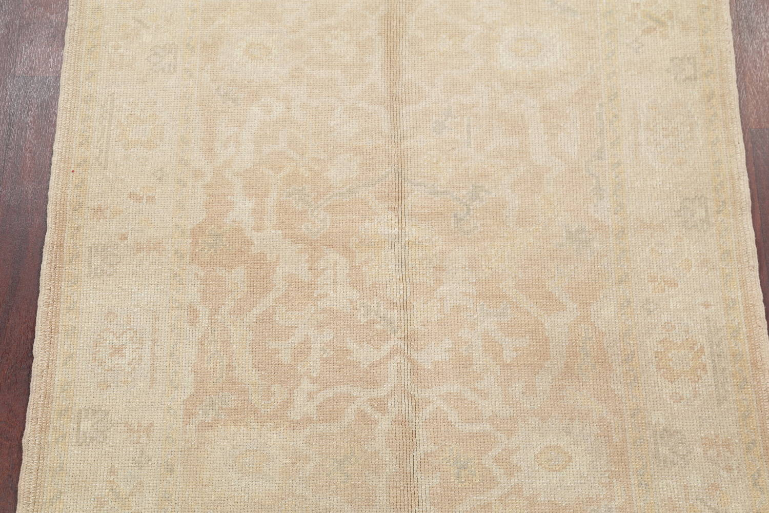 Vegetable Dye Muted Gold Oushak Turkish Hand-Knotted Area Rug 4x5 image 3