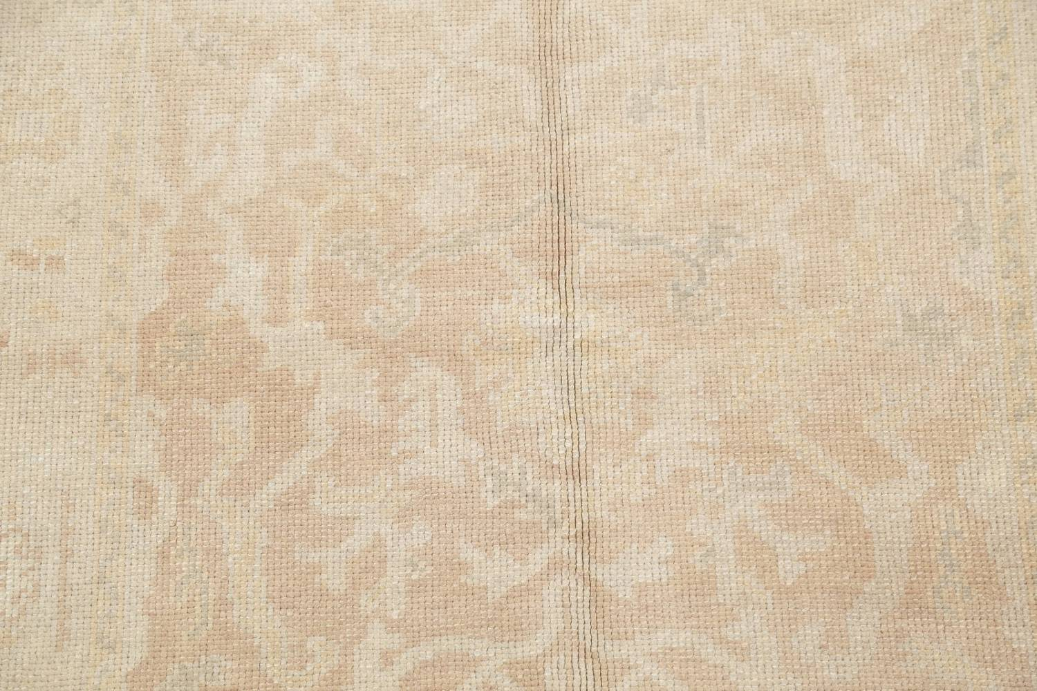 Vegetable Dye Muted Gold Oushak Turkish Hand-Knotted Area Rug 4x5 image 8