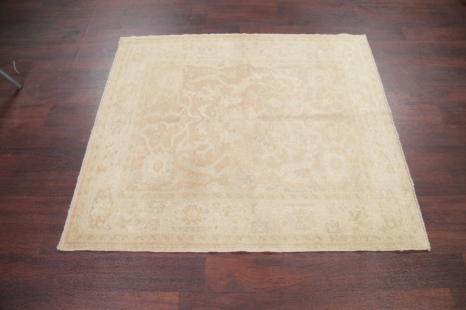 Vegetable Dye Muted Gold Oushak Turkish Hand-Knotted Area Rug 4x5 image 11