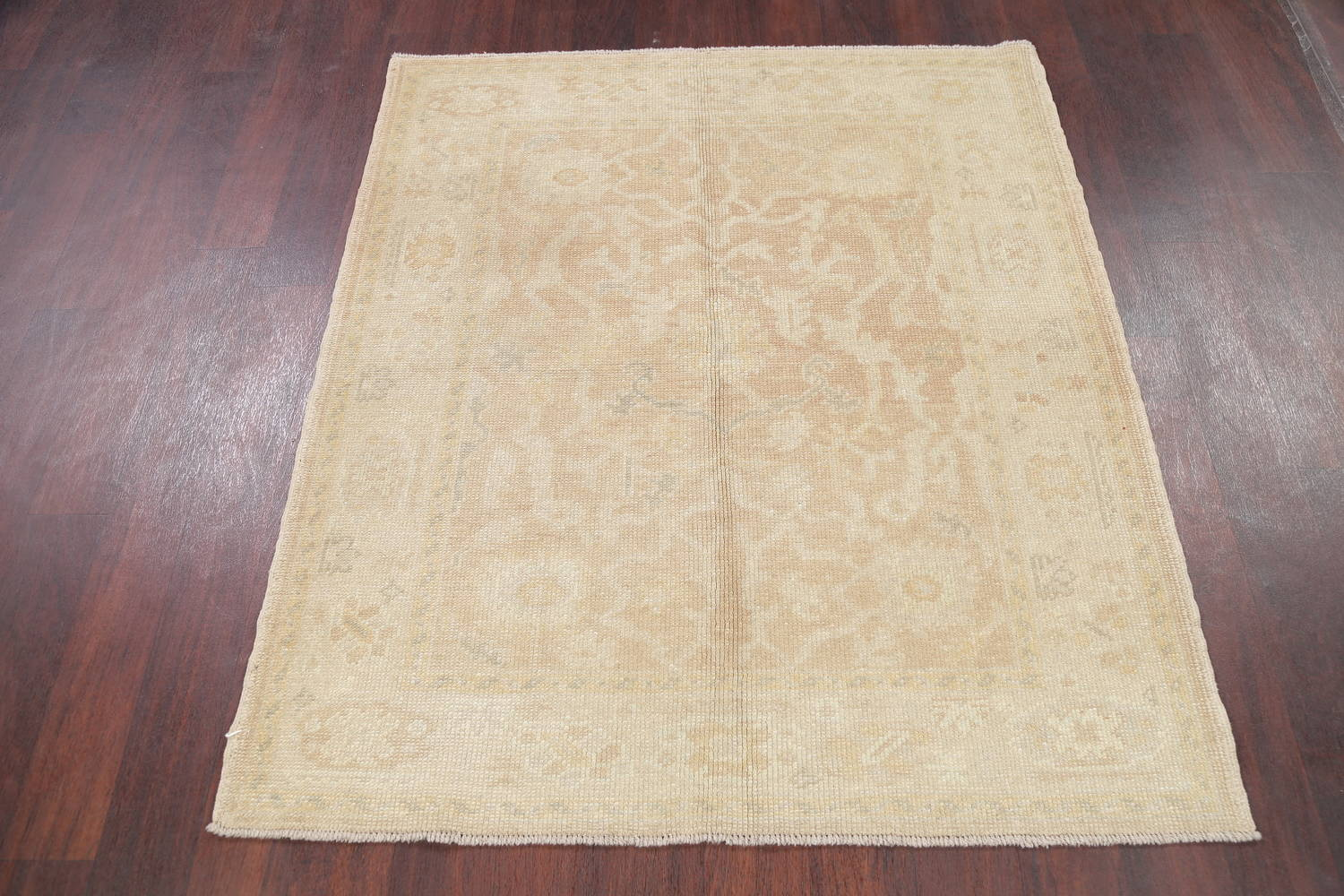 Vegetable Dye Muted Gold Oushak Turkish Hand-Knotted Area Rug 4x5 image 12