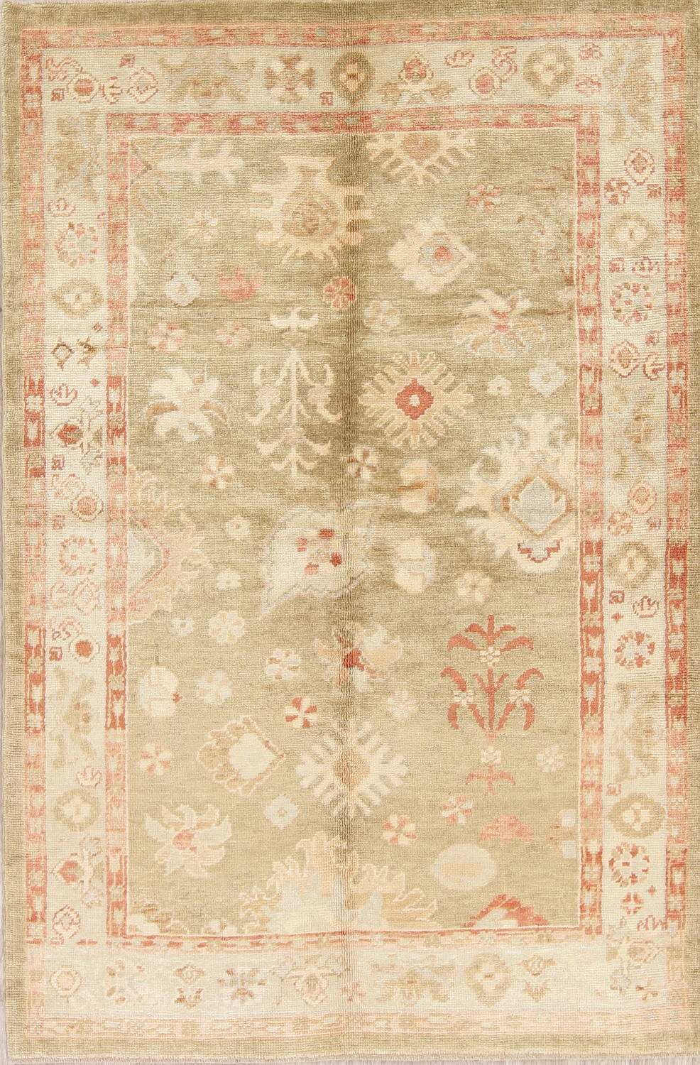 Vegetable Dye Muted Green Oushak Turkish Hand-Knotted Area Rug 5x8 image 1