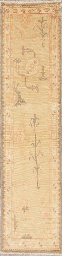 Vegetable Dye Muted Gold Oushak Turkish Runner Rug 3x10