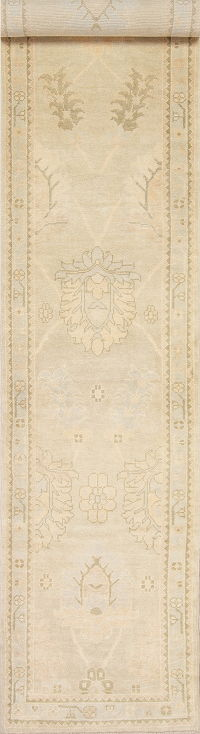 Vegetable Dye Muted Gold Oushak Turkish Hand-Knotted Runner Rug 3x19