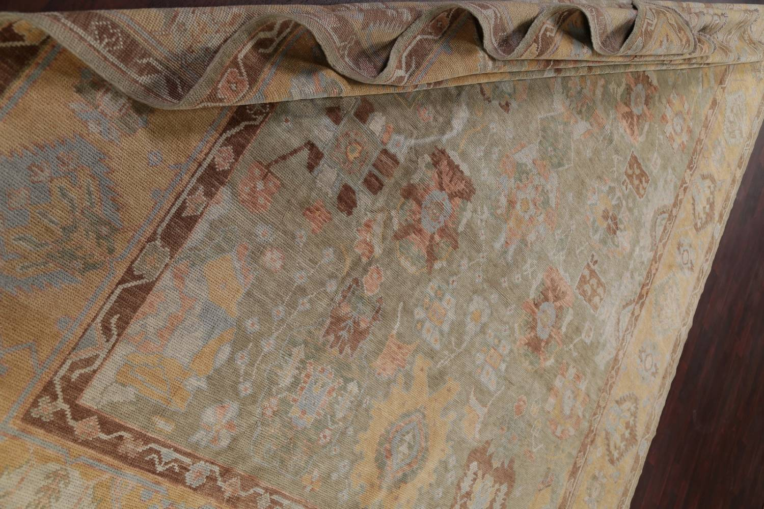 Vegetable Dye Muted Green Oushak Turkish Hand-Knotted Area Rug 9x12 image 18