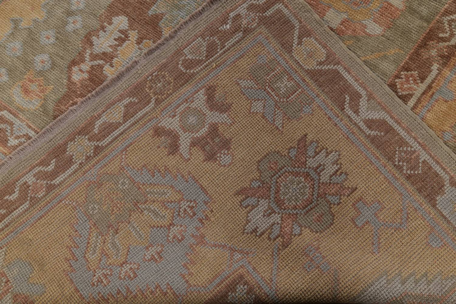 Vegetable Dye Muted Green Oushak Turkish Hand-Knotted Area Rug 9x12 image 21