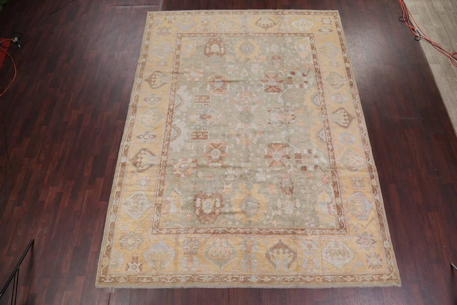 Vegetable Dye Muted Green Oushak Turkish Hand-Knotted Area Rug 9x12 image 2