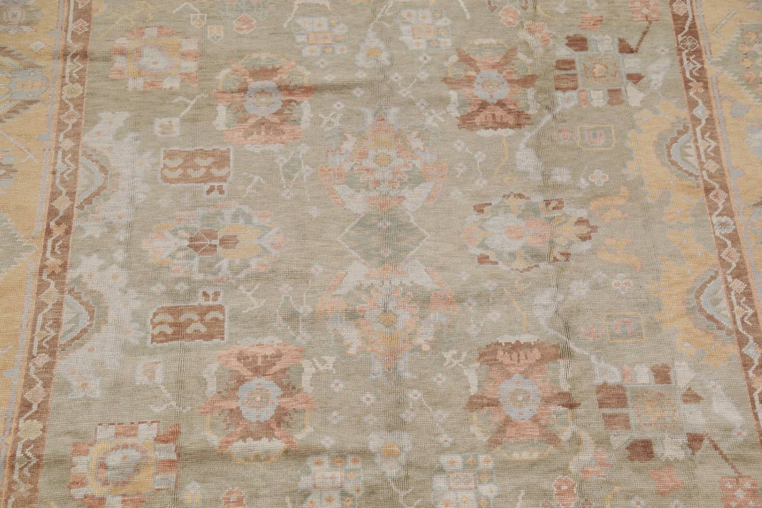 Vegetable Dye Muted Green Oushak Turkish Hand-Knotted Area Rug 9x12 image 4
