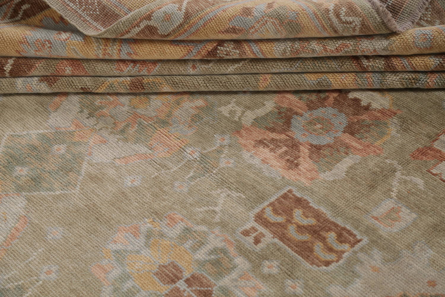 Vegetable Dye Muted Green Oushak Turkish Hand-Knotted Area Rug 9x12 image 17