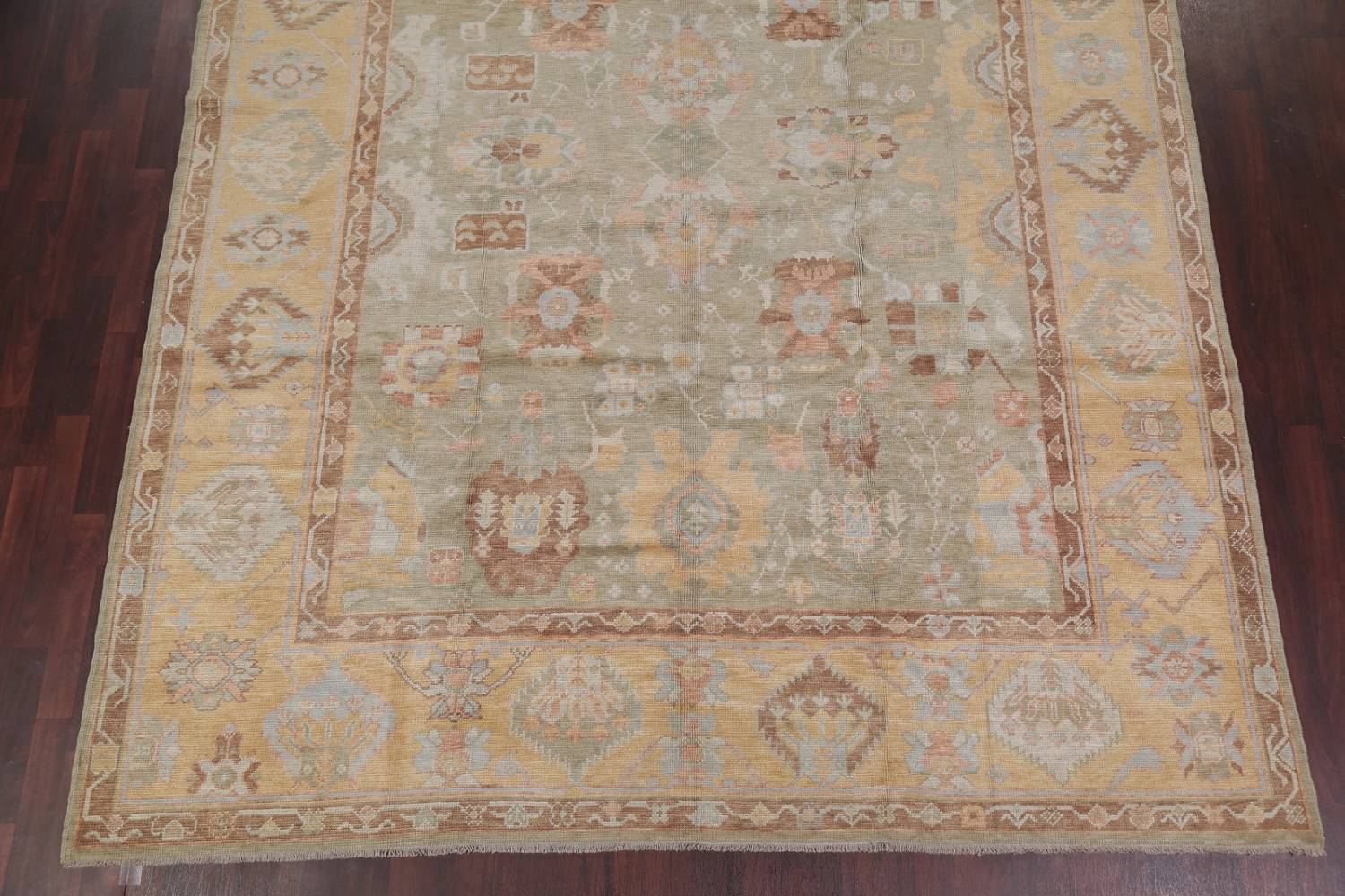 Vegetable Dye Muted Green Oushak Turkish Hand-Knotted Area Rug 9x12 image 5