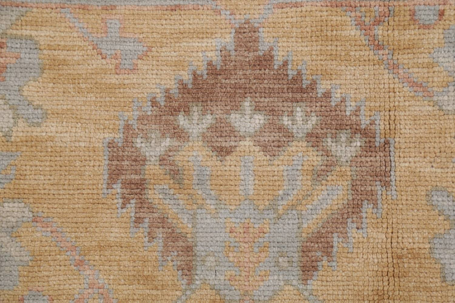 Vegetable Dye Muted Green Oushak Turkish Hand-Knotted Area Rug 9x12 image 7