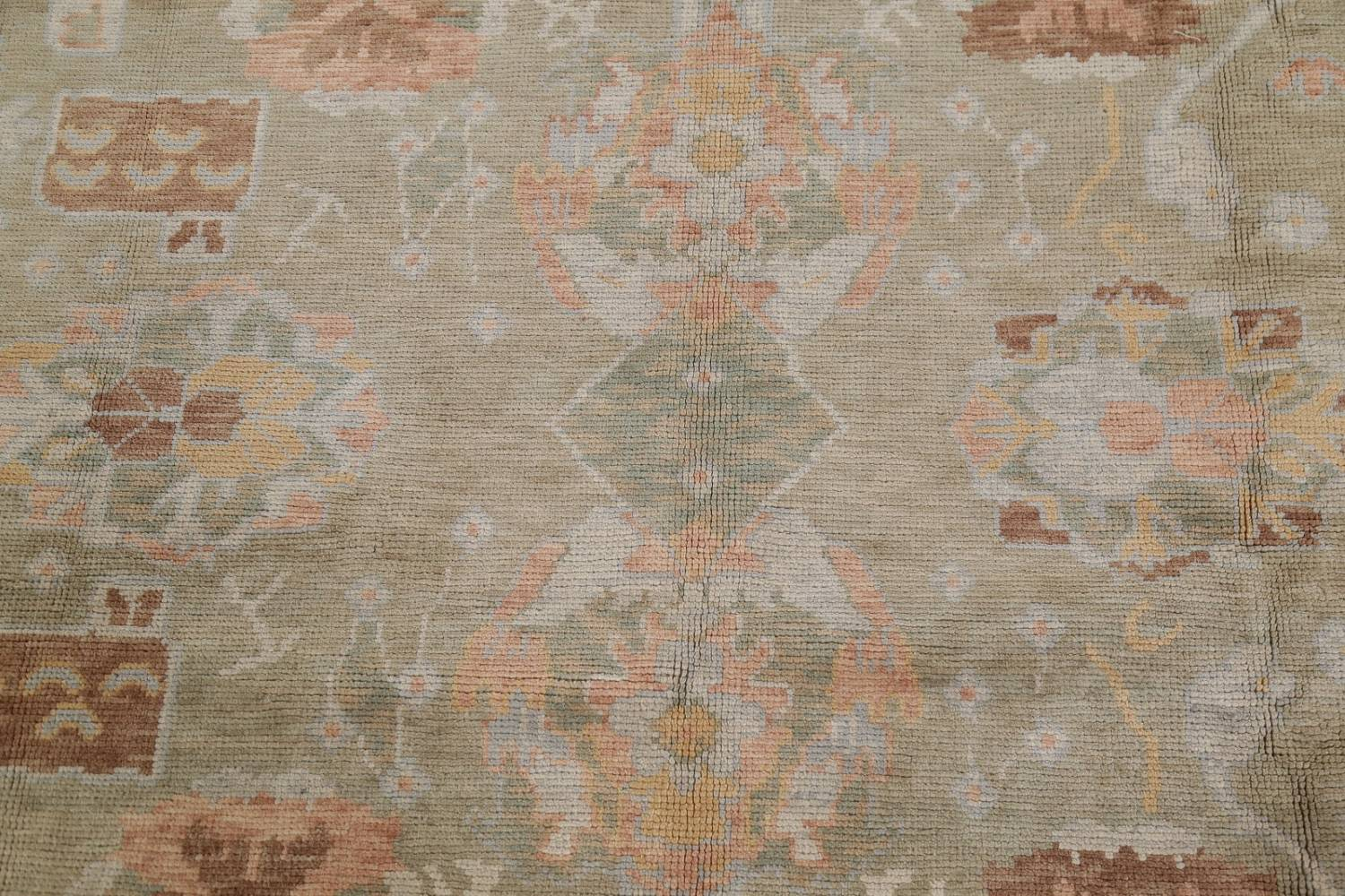 Vegetable Dye Muted Green Oushak Turkish Hand-Knotted Area Rug 9x12 image 9