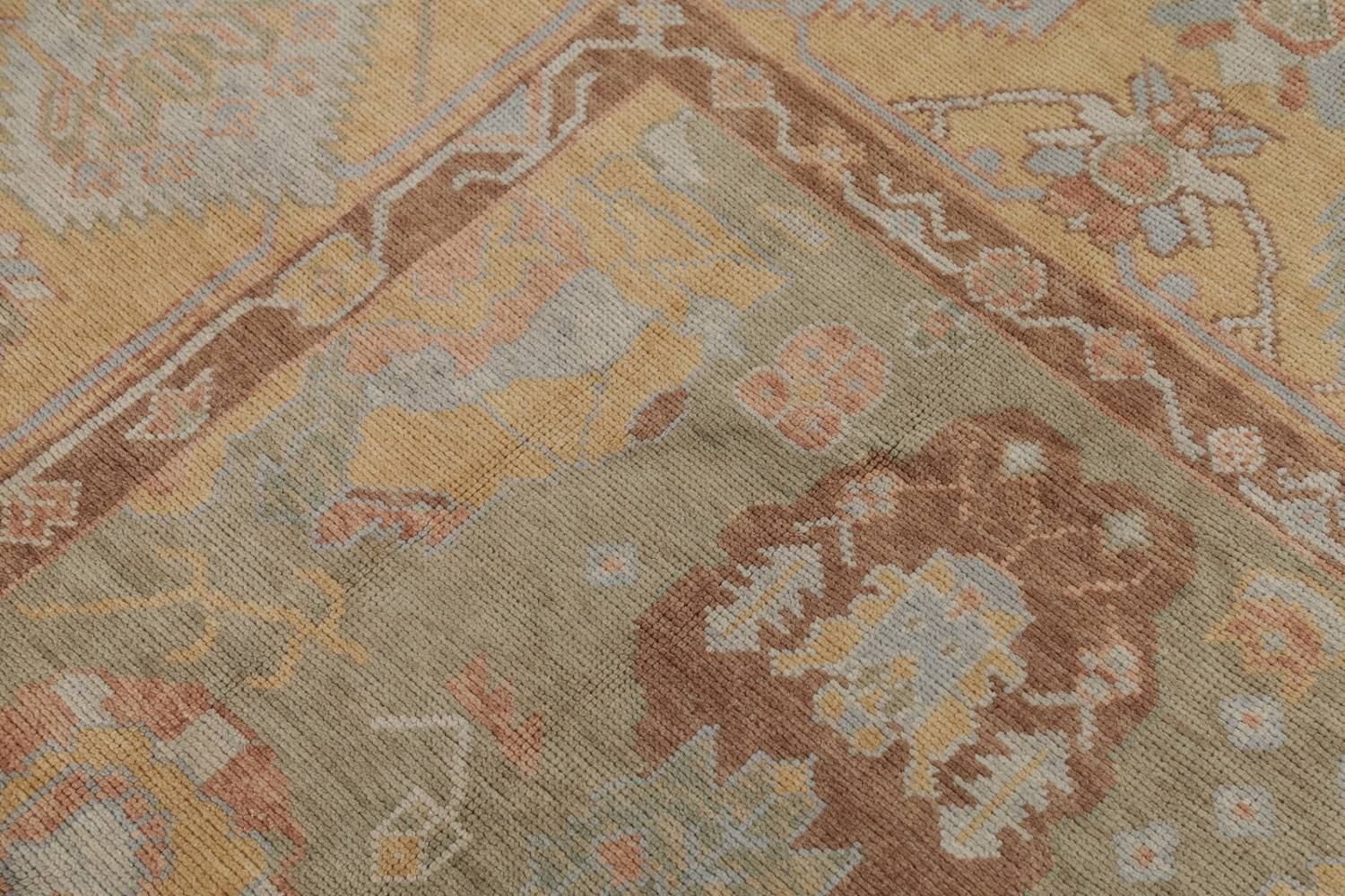 Vegetable Dye Muted Green Oushak Turkish Hand-Knotted Area Rug 9x12 image 10