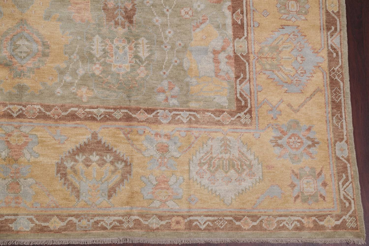 Vegetable Dye Muted Green Oushak Turkish Hand-Knotted Area Rug 9x12 image 6