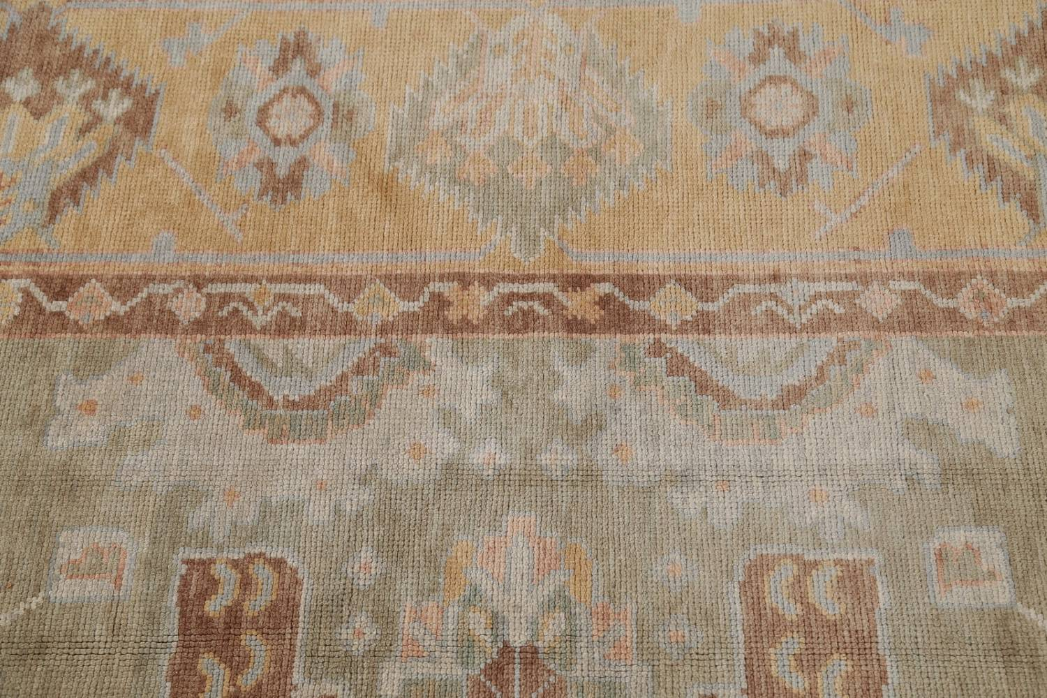 Vegetable Dye Muted Green Oushak Turkish Hand-Knotted Area Rug 9x12 image 11