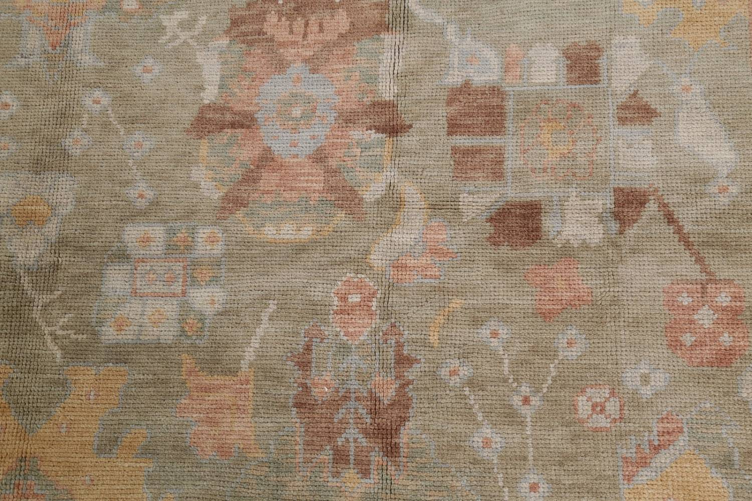 Vegetable Dye Muted Green Oushak Turkish Hand-Knotted Area Rug 9x12 image 12