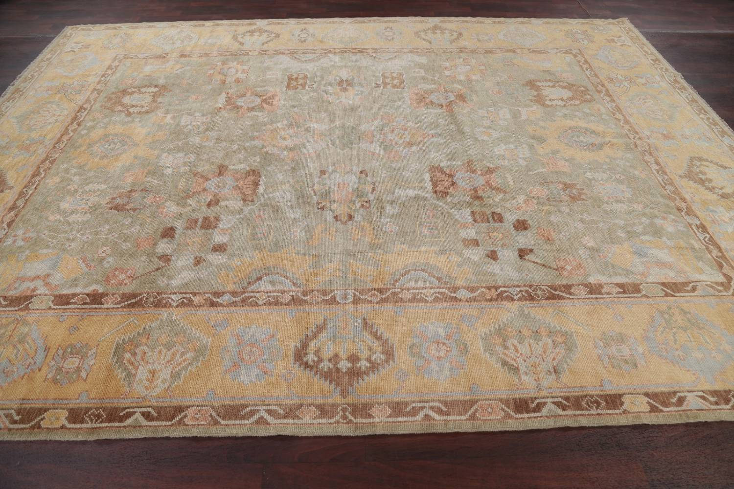 Vegetable Dye Muted Green Oushak Turkish Hand-Knotted Area Rug 9x12 image 15