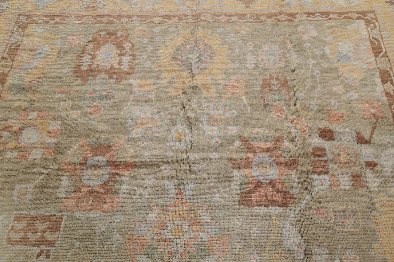 Vegetable Dye Muted Green Oushak Turkish Hand-Knotted Area Rug 9x12 image 13