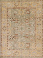 Vegetable Dye Muted Green Oushak Turkish Hand-Knotted Area Rug 9x12 image 1