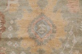 Vegetable Dye Muted Green Oushak Turkish Hand-Knotted Area Rug 9x12 image 8