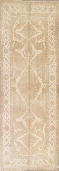 Vegetable Dye Muted Beige Oushak Turkish Runner Rug 6x16