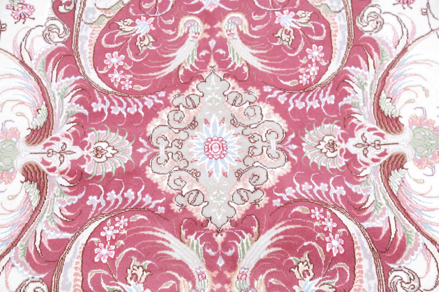 Vegetable Dye Floral Ivory Tabriz Persian Hand-Knotted Area Rug 7x10 image 12