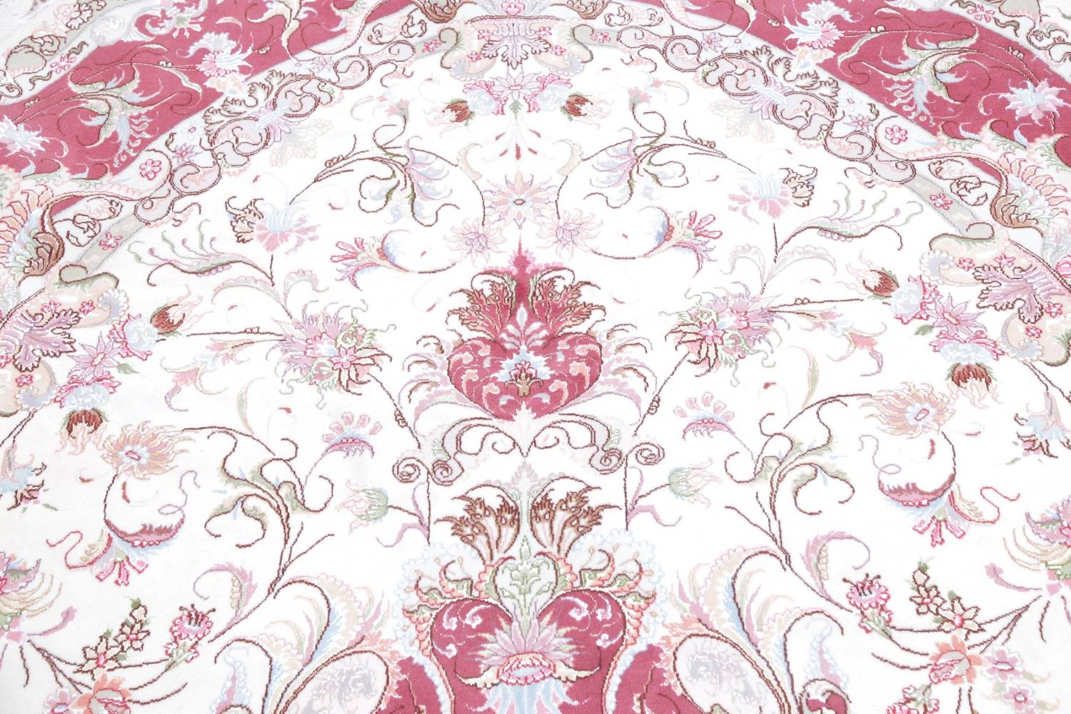 Vegetable Dye Floral Ivory Tabriz Persian Hand-Knotted Area Rug 7x10 image 14