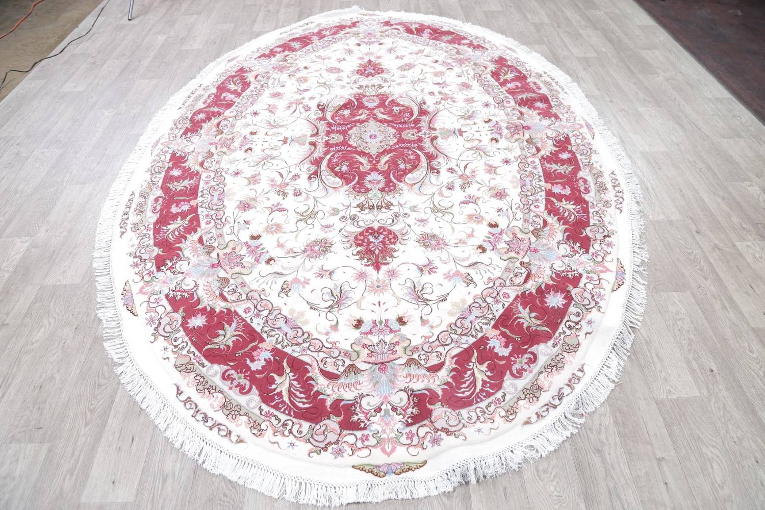 Vegetable Dye Floral Ivory Tabriz Persian Hand-Knotted Area Rug 7x10 image 17