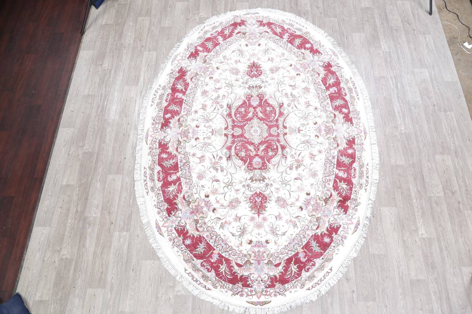 Vegetable Dye Floral Ivory Tabriz Persian Hand-Knotted Area Rug 7x10 image 2
