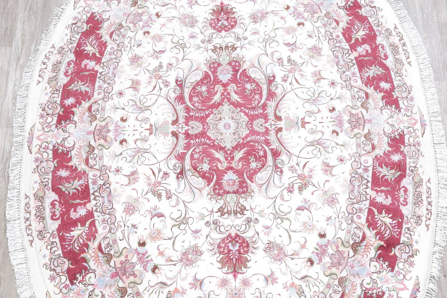 Vegetable Dye Floral Ivory Tabriz Persian Hand-Knotted Area Rug 7x10 image 3