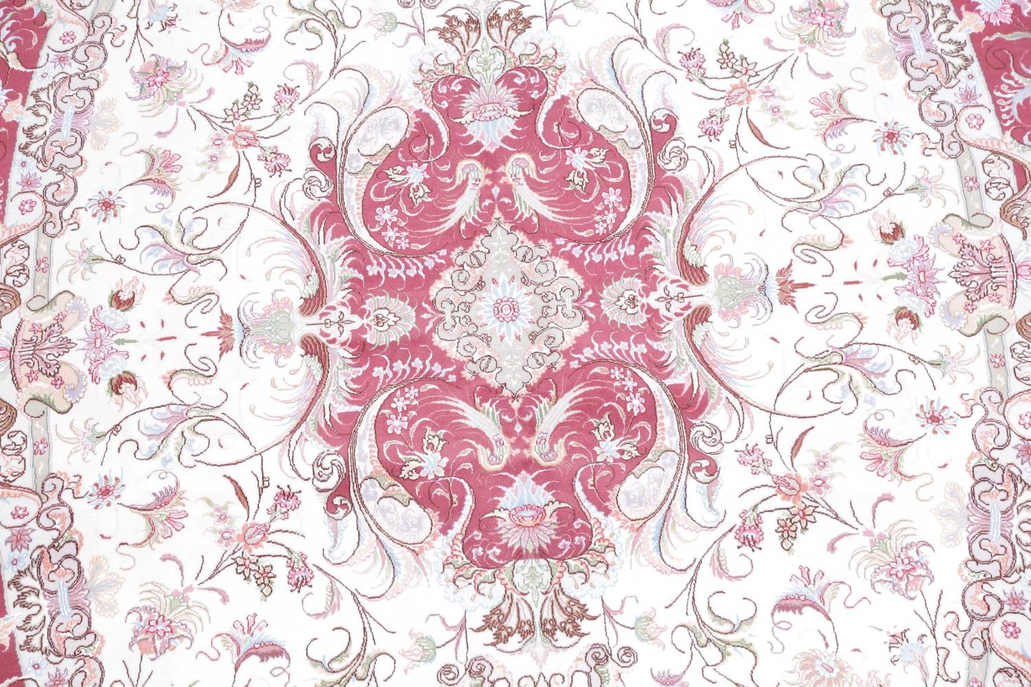 Vegetable Dye Floral Ivory Tabriz Persian Hand-Knotted Area Rug 7x10 image 4