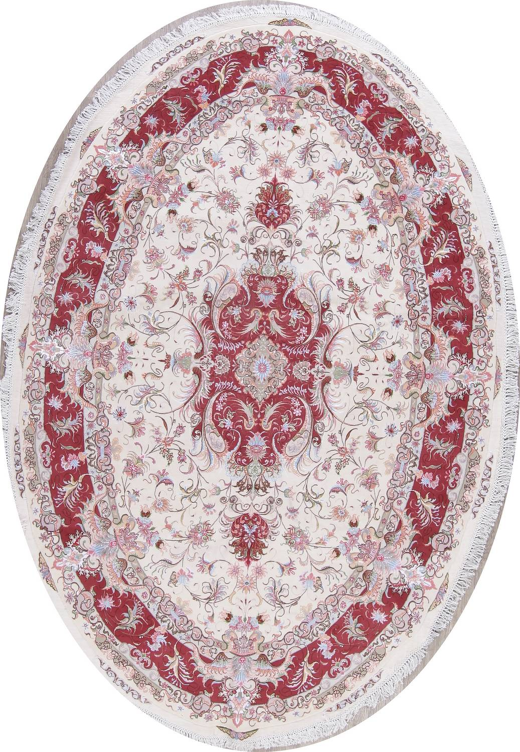 Vegetable Dye Floral Ivory Tabriz Persian Hand-Knotted Area Rug 7x10 image 1