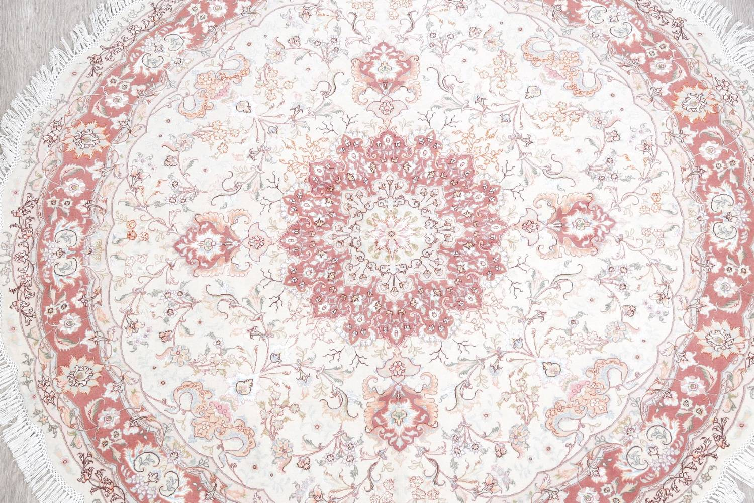 Vegetable Dye Floral Ivory Tabriz Persian Hand-Knotted Round Rug 7x7 image 3