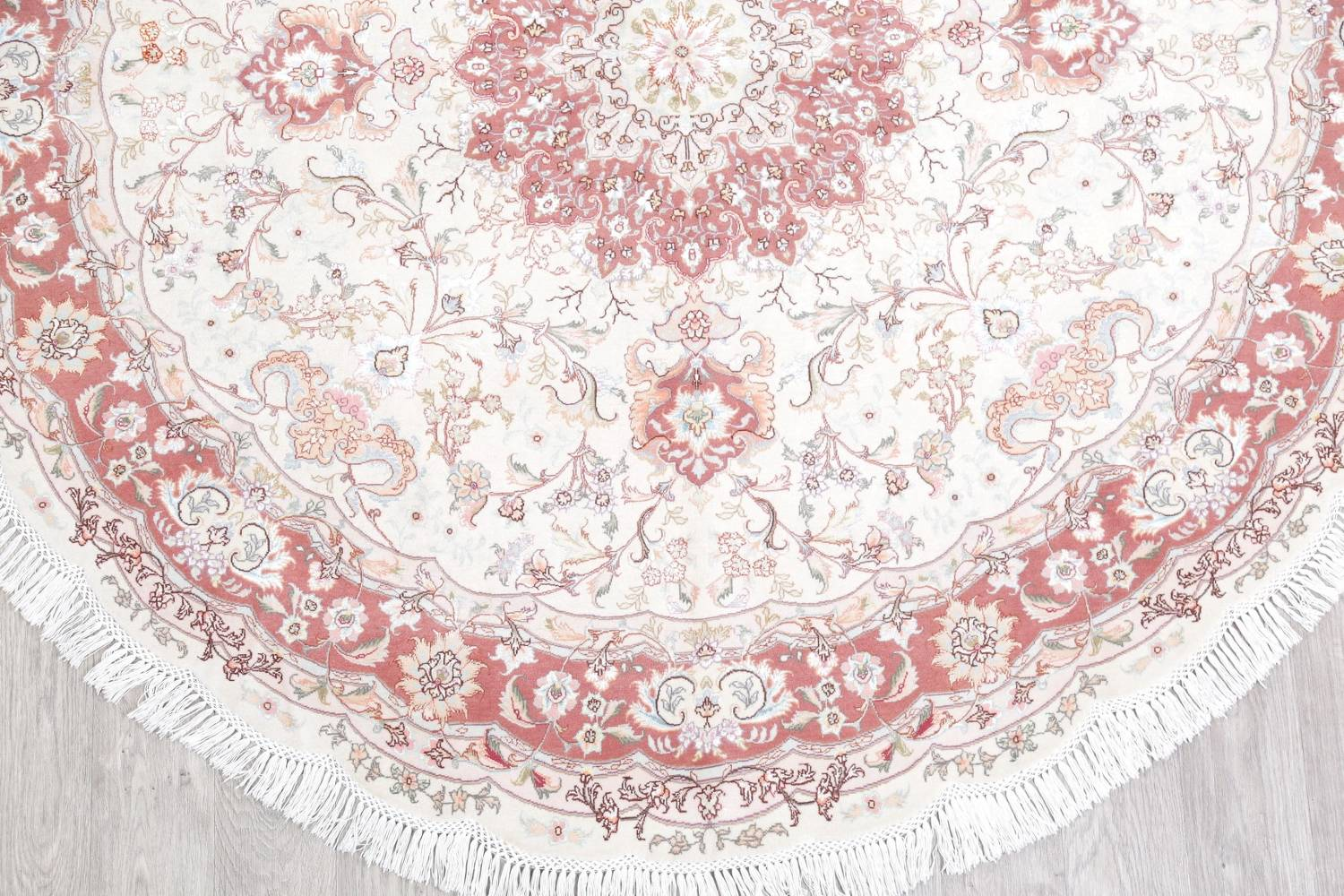 Vegetable Dye Floral Ivory Tabriz Persian Hand-Knotted Round Rug 7x7 image 5