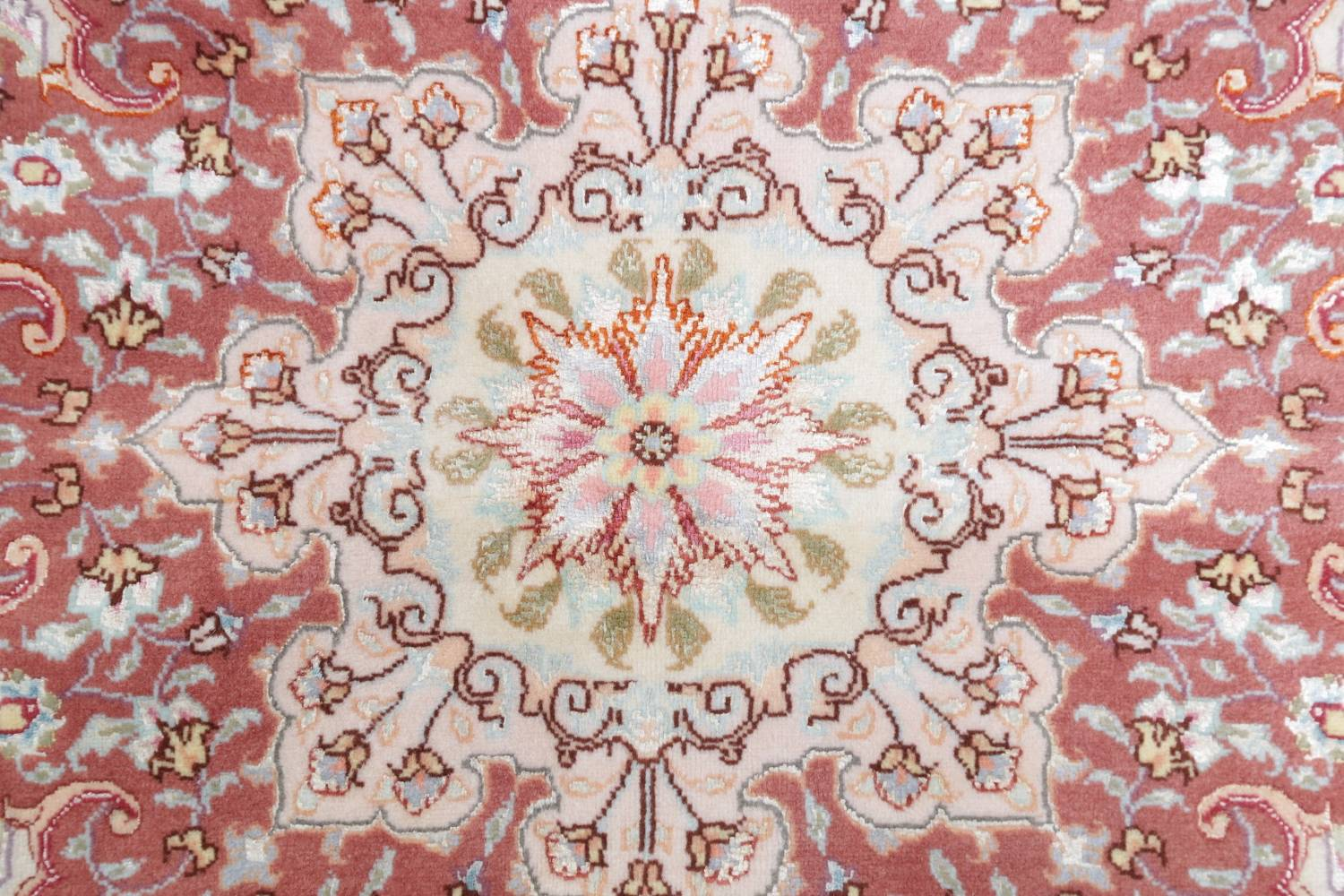 Vegetable Dye Floral Ivory Tabriz Persian Hand-Knotted Round Rug 7x7 image 7