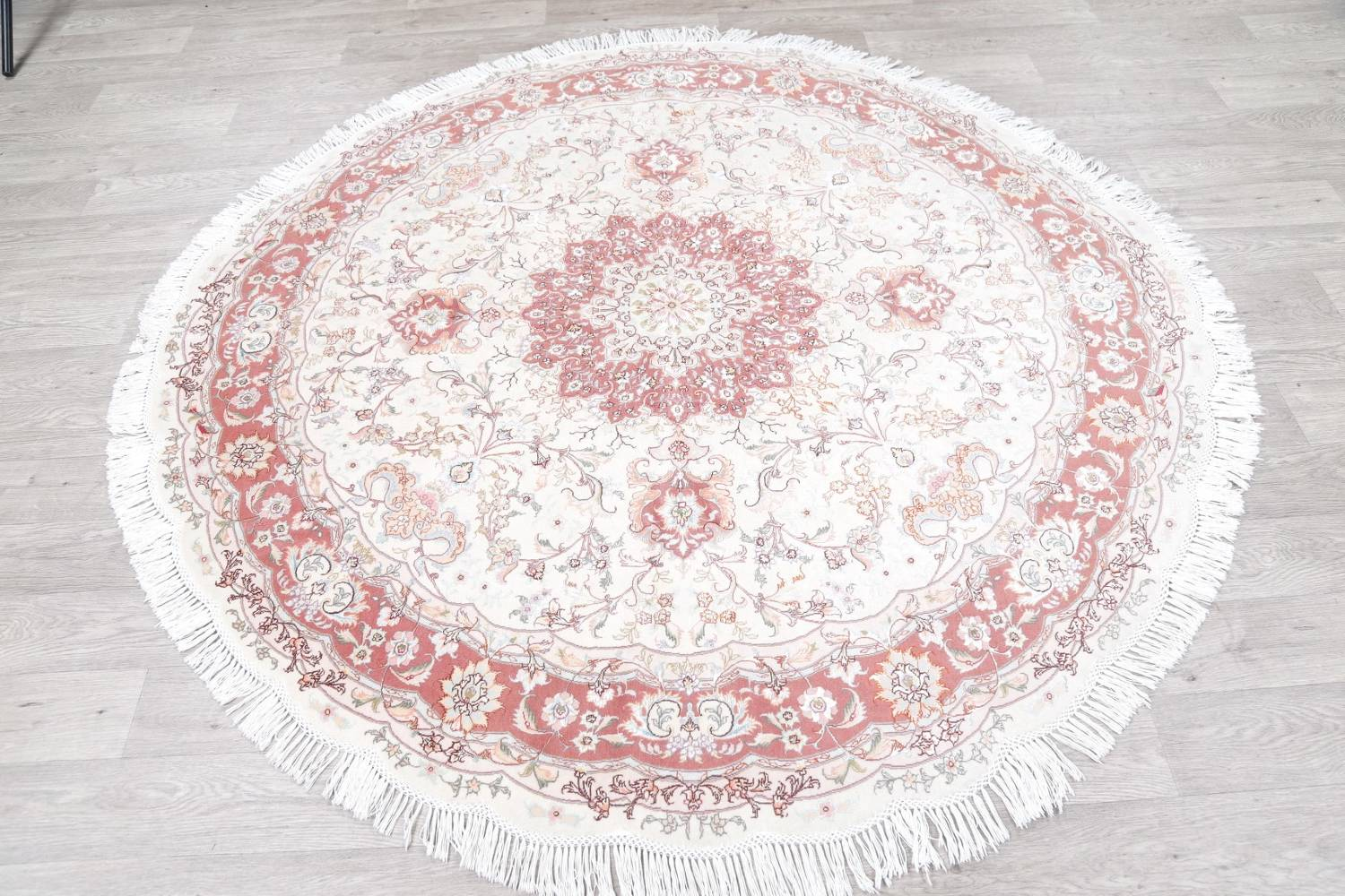 Vegetable Dye Floral Ivory Tabriz Persian Hand-Knotted Round Rug 7x7 image 14