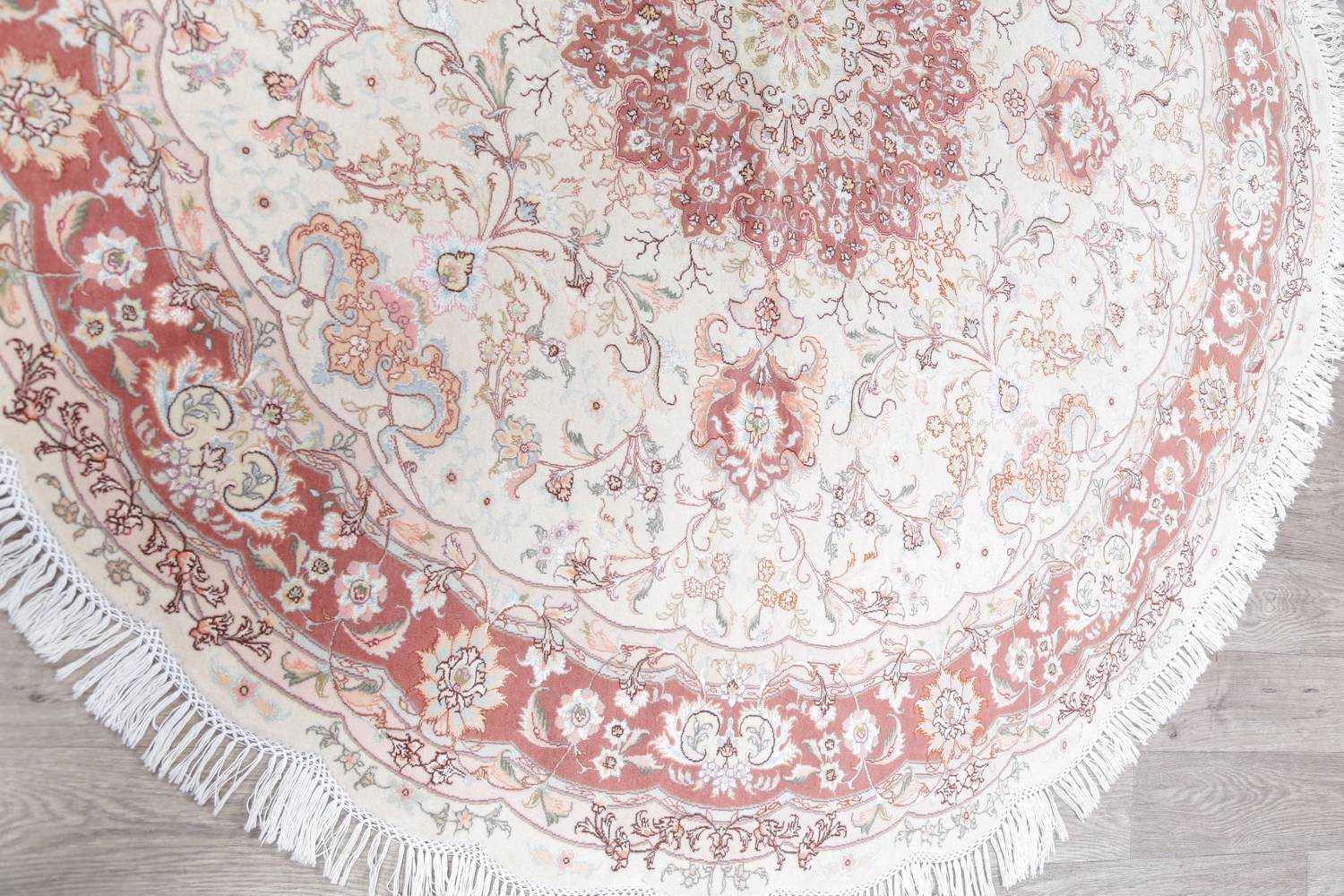 Vegetable Dye Floral Ivory Tabriz Persian Hand-Knotted Round Rug 7x7 image 13
