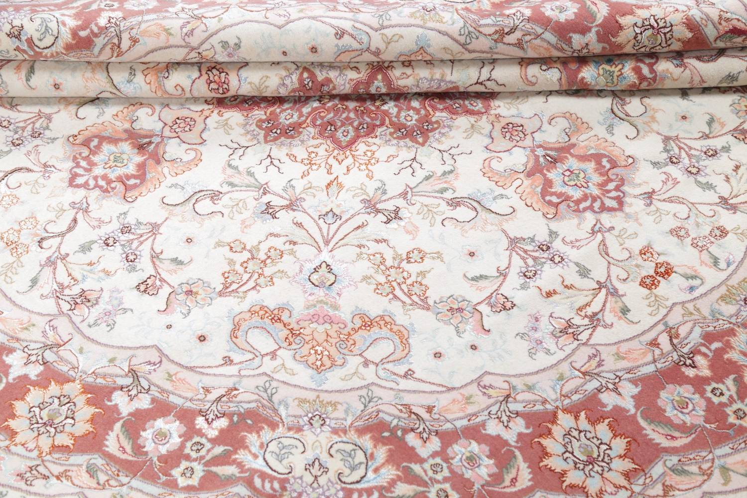 Vegetable Dye Floral Ivory Tabriz Persian Hand-Knotted Round Rug 7x7 image 17