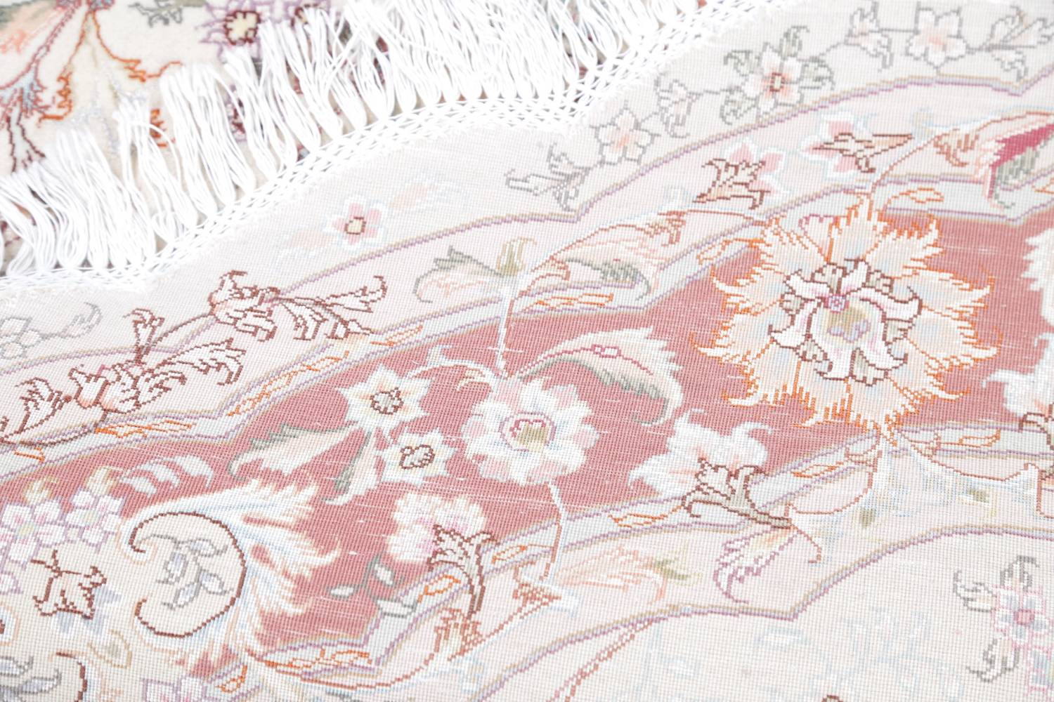 Vegetable Dye Floral Ivory Tabriz Persian Hand-Knotted Round Rug 7x7 image 20