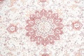 Vegetable Dye Floral Ivory Tabriz Persian Hand-Knotted Round Rug 7x7 image 4