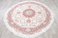 Vegetable Dye Floral Ivory Tabriz Persian Hand-Knotted Round Rug 7x7 image 15