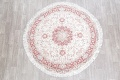 Vegetable Dye Floral Ivory Tabriz Persian Hand-Knotted Round Rug 7x7 image 2