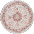 Vegetable Dye Floral Ivory Tabriz Persian Hand-Knotted Round Rug 7x7 image 1