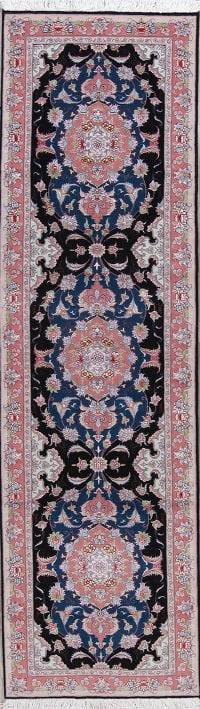 Vegetable Dye Floral Navy Blue Tabriz Persian Handmade Runner Rug 3x11