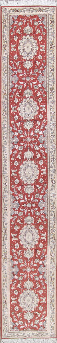 Vegetable Dye Floral Red Tabriz Persian Hand-Knotted Runner Rug 3x17
