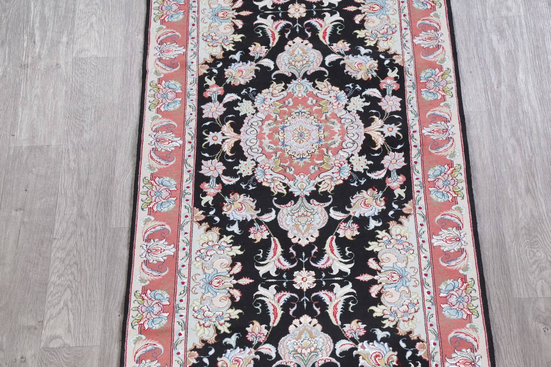 Vegetable Dye Floral Black Tabriz Persian Hand-Knotted Runner Rug 3x17
