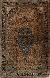Pre-1900 Antique Vegetable Dye Floral Rust Sarouk Farahan Persian Rug 12x18