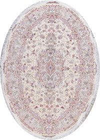 Vegetable Dye Floral Tabriz Persian Hand-Knotted Oval Area Rug 7x10