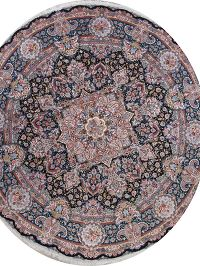 Vegetable Dye Floral Black Tabriz Persian Hand-Knotted Round Rug 17x17