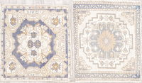 Pack Of Two Oushak Turkish Handmade Square Rug Wool 2x2